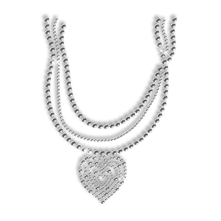 Shinning White Nailhead Necklace with Heart Iron on Transfer for Clothes