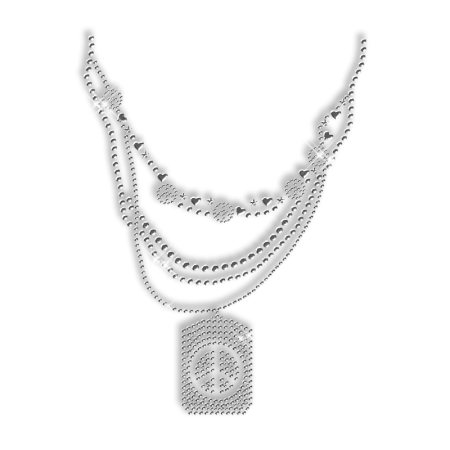 Shinning Crystal Rhinestone and Nailhead Necklace with Peace Mark Iron on Transfer Motif for Clothes