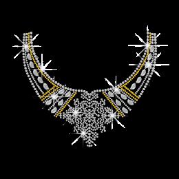 Crystal Silver Necklace Rhinestone Nailhead Iron on Transfer