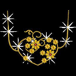 Pretty Yellow Bling Necklace Rhinestone Nailhead Iron on Transfer