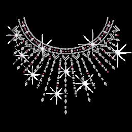 Beautiful Necklace Iron-on Nailhead Rhinestone Transfer