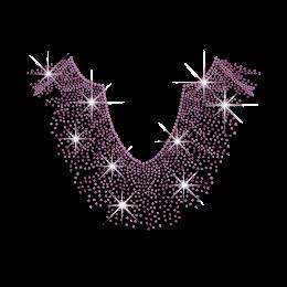 Pretty Purple Necklace Iron-on Rhinestone Transfer
