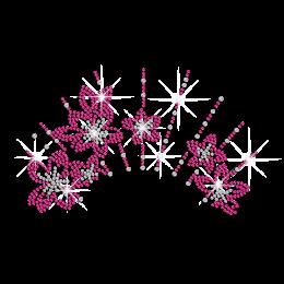 Rose Pink Flowers Necklace Iron-on Rhinestone Transfer