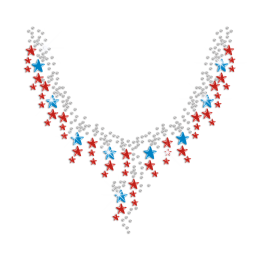 Shimmery Stars Necklace Iron on Rhinestone Transfer