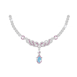 Teal Blue Jewel Necklace Iron on Rhinestone Transfer