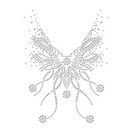 Crystal Butterfly Graphic Necklace Iron on Rhinestone Transfer Decal