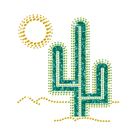 Glitter and Rhinestone Iron on Cactus Transfer for Clothing