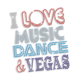 I Love Music Dance & Vegas Hotfix Sequin Iron-on Transfer