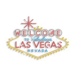 Welcome to Vegas Colorful Sequin Neon Stud Iron-on Transfer