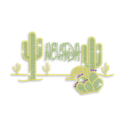 Blingy Nevada Cactus Iron-on Rhinestud Rhinestone Transfer