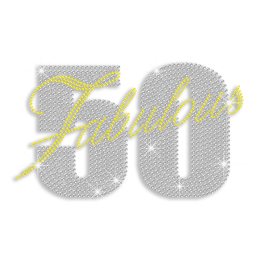 Custom Best Shinning Big Fabulous 50 in Crystal and Yellow Diamante Iron on Transfer Motif for Shirts