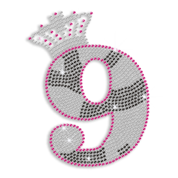 Custom Cute Shinning Number 9 with Crystal Crown Diamante Iron on Transfer Design