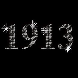 Shimmery Year of 1913 Iron-on Rhinestone Transfer