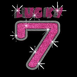 Pretty Lucky Number 7 Iron-on Glitter Rhinestone Transfer