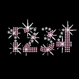 Fashionable Pink Numbers Rhinestud Nailhead Iron-on Transfer