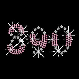 Pink Fashionable Numbers Rhinestud Nailhead Iron-on Transfer