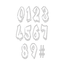 Bling Crystal Numbers Iron-on Rhinestone Transfer Design