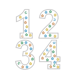 Colorful Sparkling Numbers Hotfix Rhinestone Transfer