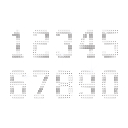 Numbers Nailhead Iron ons with Cross-stitch Pattern
