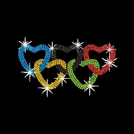 Olympic Rings in Heart Shape Hot-fix Rhinestone Transfer