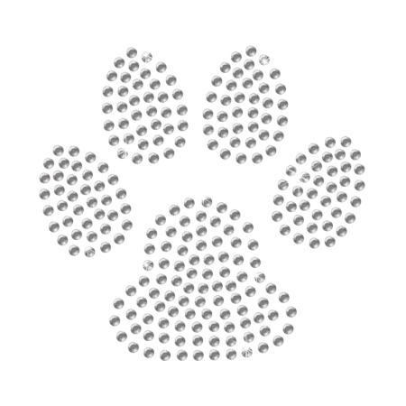 Clear Crystal Paw Hot-fix Transfer Design for Kids