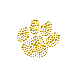 Yellow Crystal Rhinestone Paw Transfer Design