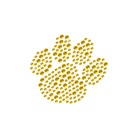 Yellow Crystal Rhinestone Paw Transfer Design
