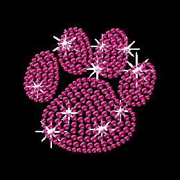Pink Rhinestone Dog Paw Iron on Transfer