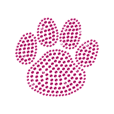 Pink Rhinestone Dog Paw Iron on Transfer