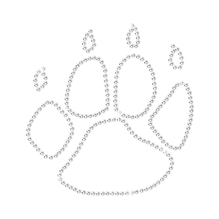 Crystal Dog Paw Print with Claws Rhinestone Motif