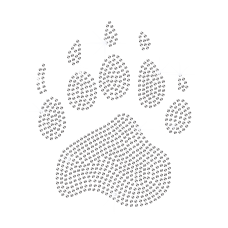 Grey Wolf Paw Print Rhinestone Hot-fix Design