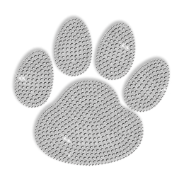 Pure Crystal Rhinestone Paw Iron on Motif for Clothes