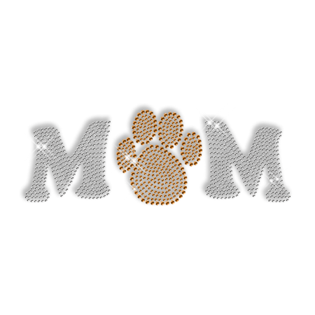 Sparkling Rhinestone Paw with Letters Iron on Motif
