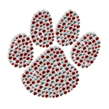 Sparkling Crystal and Red Rhinestone Paw Iron on Motif