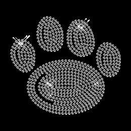 Lovely Tiny Crystal Rhinestone Paw Iron on Motif