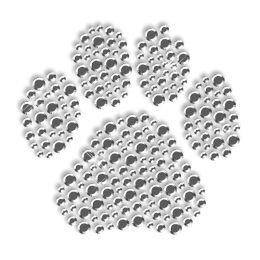 Large Pure Crystal Rhinestone Paw Iron on Transfer