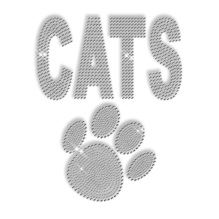 Shining Rhinestone Cats Paw Iron on Motif for Clothes
