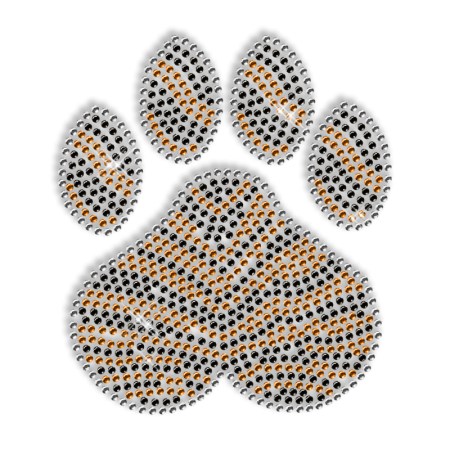 Shining Rhinestone Paw with Tiger Stripe Iron on Motif for Clothes