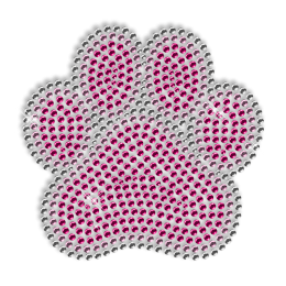 Shining Pink Rhinestone Paw Iron on Motif for Clothes