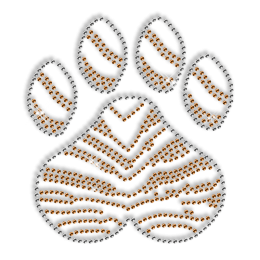Custom Best Cute Orange Stripe Paw Print Pure Diamante Iron on Transfer Design
