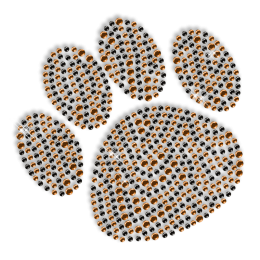Custom Best Sparkling Small Paw Print in Orange and Black Diamante Iron on Transfer Design