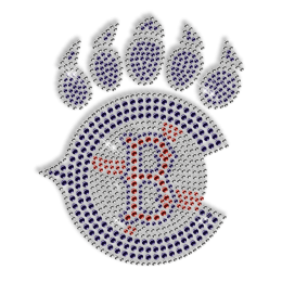 Custom Best Sparkling Baseball and Blue Paw Print Diamante Iron on Transfer Motif