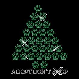 Custom Sparkling Adopt Don\'t Shop Paw Prints Tree Rhinestone Iron on Transfer Design