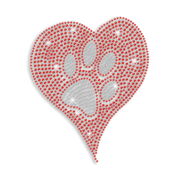 Shiny Paw in the Heart Iron-on Rhinestone Transfer