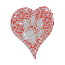 Glistering Paw in the Heart Iron-on Rhinestone Transfer