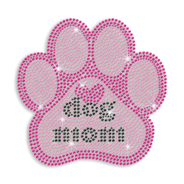 Pink Cute Dog Mom Iron-on Stud Rhinestone Transfer