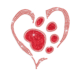 Red Paw in the Heart Iron-on Glitter Rhinestone Transfer