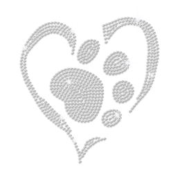 Crystal Paw in the Heart Iron-on Rhinestone Transfer