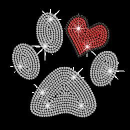 Cute Paw Print & Heart Iron-on Rhinestone Transfer