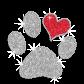 Glistering Paw Print & Heart Iron-on Glitter Rhinestone Transfer